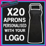 PERSONALISED EMBROIDERED LOGO APRON KITCHEN STAFF COFFEE SHOP CAFE  X20